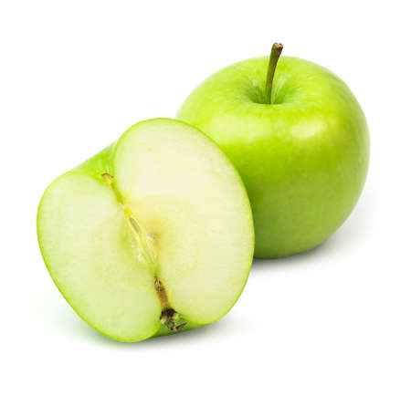 a green apple with half isolated on a white background.
