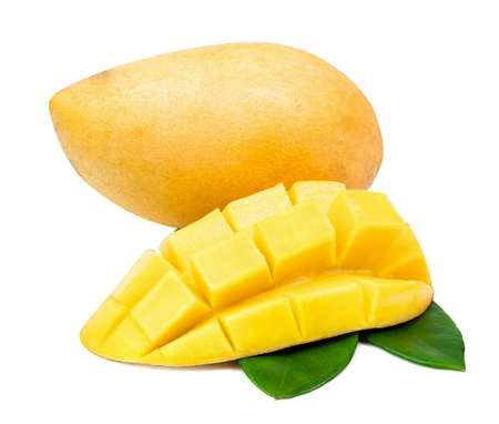 mango sliced like dice wiht leaf isolated on a white background.