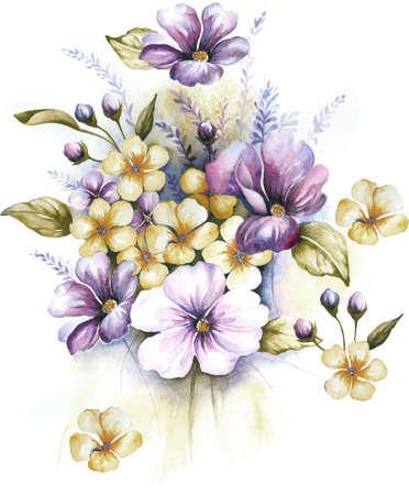 bouquet fleur: aquarelle fleurs