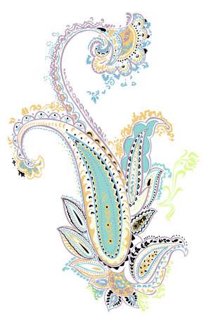 disegni cachemire: dipinte a mano multicolor paisley Archivio Fotografico
