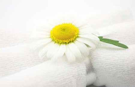 chamomile with towels photo