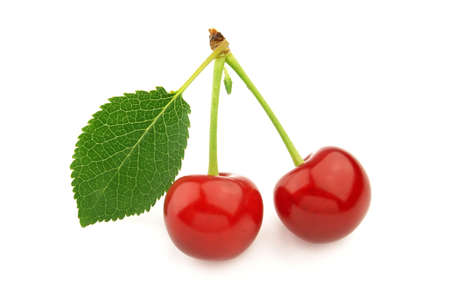 sugary: Cherry with leaves