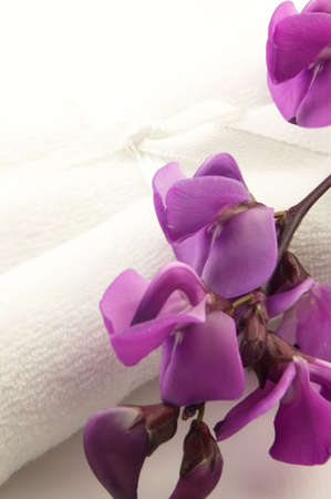 Towel with flower photo
