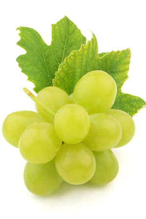 Ripe grapes with leaves photo
