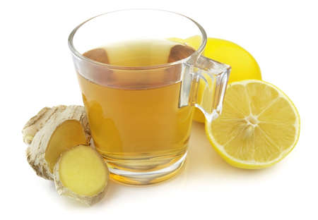Tea with ginger and lemon Stock Photo