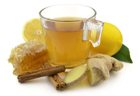 Ginger tea with honey and lemon photo