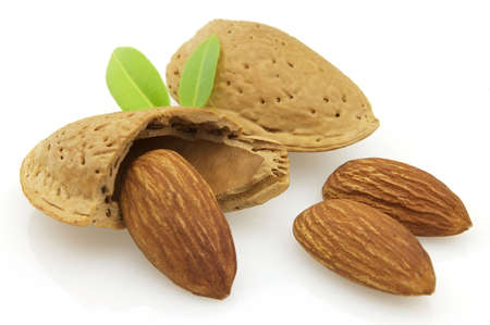 Sweet almonds with leaves