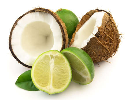 Coconut with lime 스톡 콘텐츠