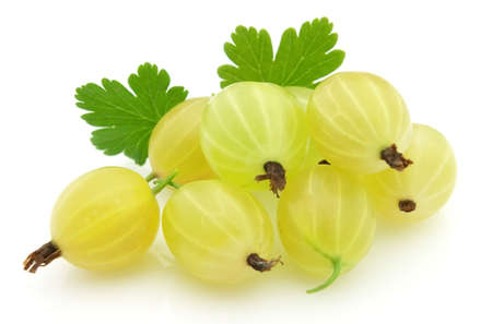 gooseberry: Ripe gooseberry with leaves Stock Photo