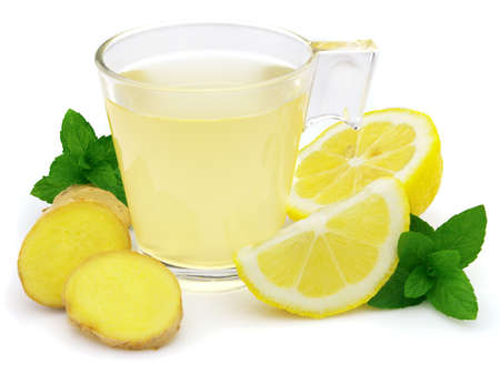 Ginger tea with peppermint and fresh lemon photo