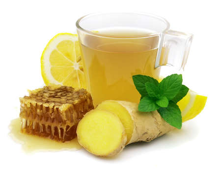 Hot ginger tea with lemon and honey photo