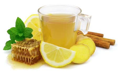 Ginger tea with lemon and honey photo