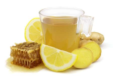 Ginger tea with lemon and honey photo