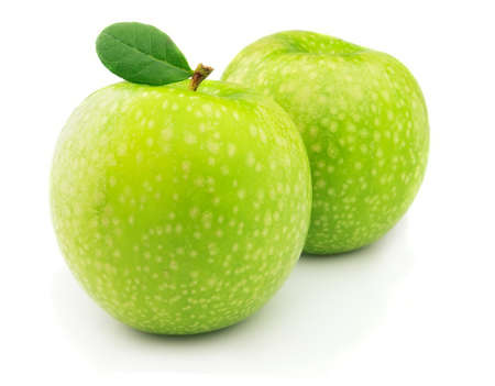 Two green apples on a white background photo