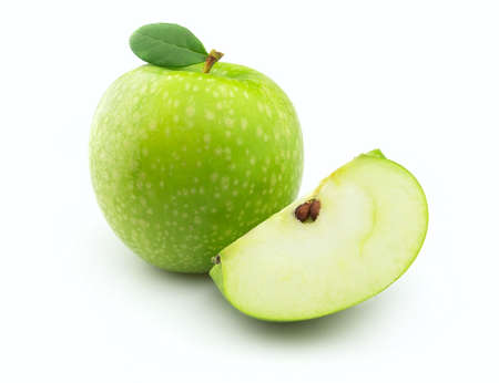 Juicy green apple with leaves Stock Photo