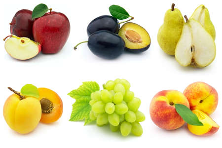 Fresh and ripe fruit on a white background