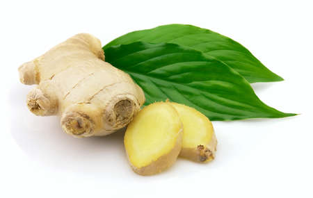ingefära: Fresh ginger with leaves