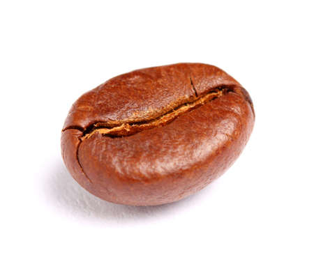 One coffee bean on a white background