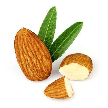 Almonds kernel with leaves Stock Photo