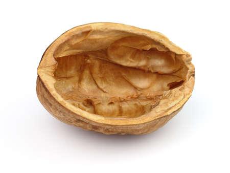 half open: Shell of walnut in closeup