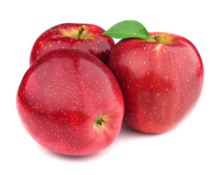 apple red: Fresh apples in closeup. On a white background
