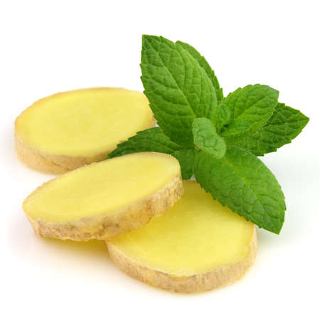 Ginger slice with mint photo