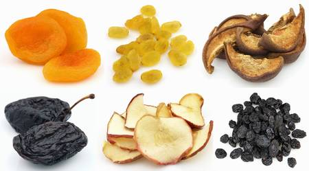 raisins: Collage from dried fruits Stock Photo