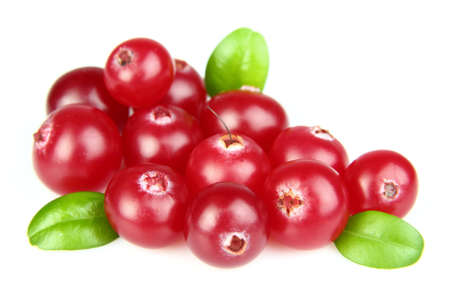 cranberry: Fresh cranberry with leaves Stock Photo