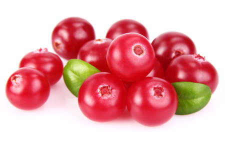 Ripe cranberry with leaves. Use it for a health and nutrition concept.  Stock Photo