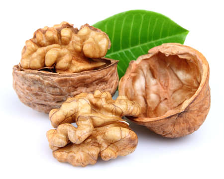 Walnuts with leaves photo