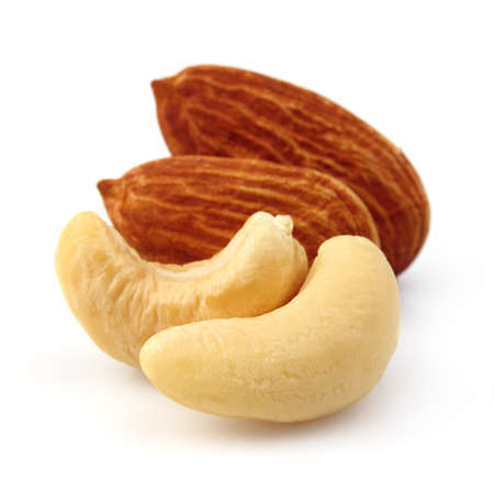Almonds with cashew on a white background photo
