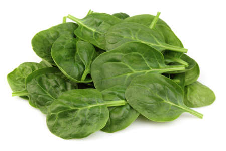 Heap of spinach on a white background photo