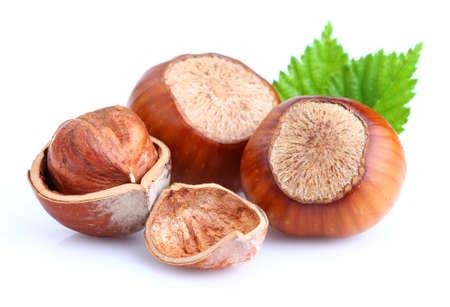 Hazelnuts with leaves Stock fotó