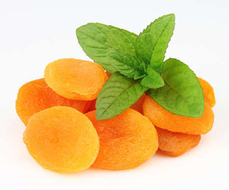 Dried apricot with mint photo