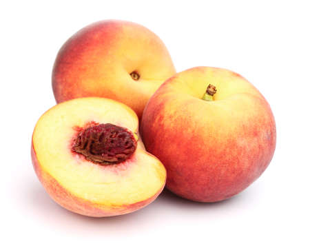 Ripe peaches in closeup Stock Photo