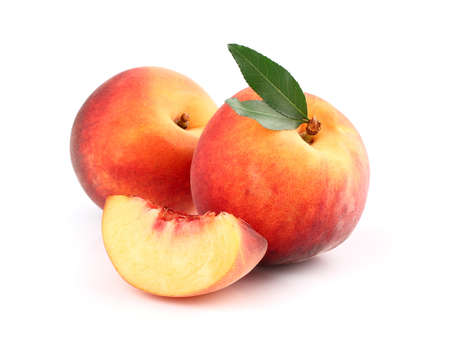 Fresh peach with slice Stock Photo