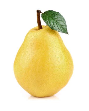 pera: Pera madura con la hoja