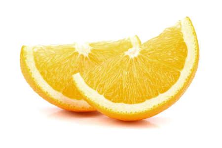two object: Slice of orange in closeup