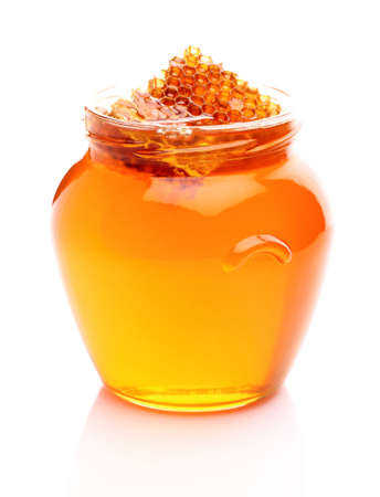 Fresh honey with honeycomb Stock Photo - 15651719