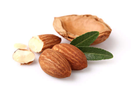 almond: Dried kernel of almonds Stock Photo