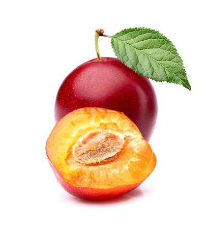 Sweet ripe plum with slice Stock Photo