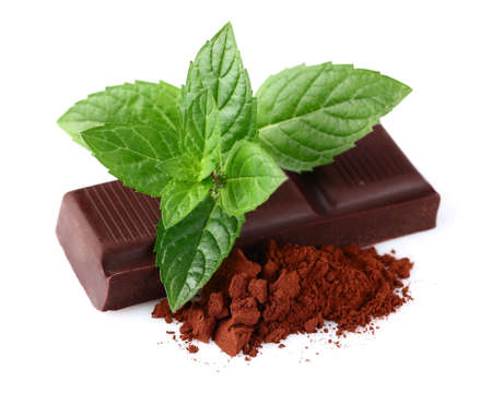 chocolate mint: Chocolate with mint and heap of cacao Stock Photo