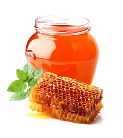 honey cell: Fresh honey with honeycombs and mint Stock Photo