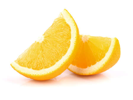 2 objects: Two slices of orange Stock Photo