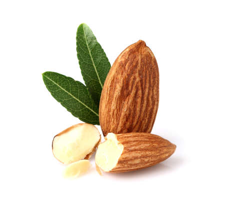 almond: Almonds kernel with leaf