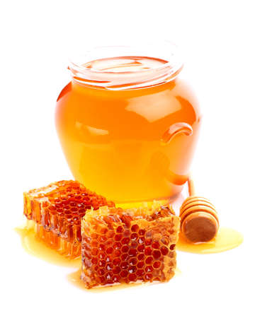 Fresh linden honey on a white background photo