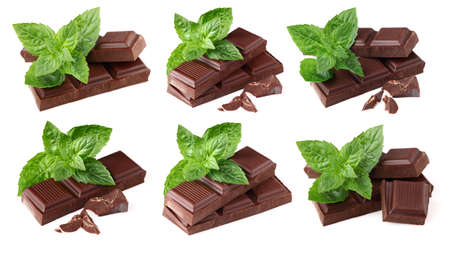 Collage from chocolate with mint photo