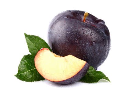 plum: Sweet plum with slice Stock Photo