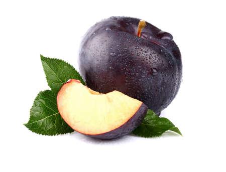Sweet plum with slice Stock Photo