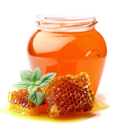 honey cell: Mint honey Stock Photo